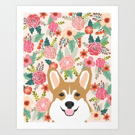 Welsh Corgi cute flowers spring summer garden dog portrait cute corgi puppy funny god illustrations Art Print