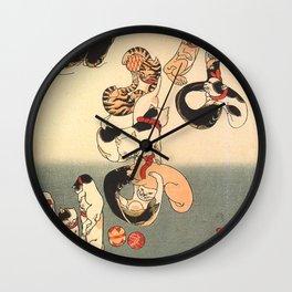 Cats forming the Characters for Catfish by Utagawa Kuniyoshi Wall Clock