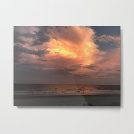 Sunset cloud on the beach Metal Print
