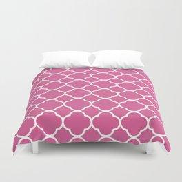 Quatrefoil Shape (Quatrefoil Tiles) - Pink White Duvet Cover