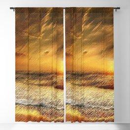 East Matunuck Beach Rhode Island Sunset Landscape Painting by Jeanpaul Ferro Blackout Curtain