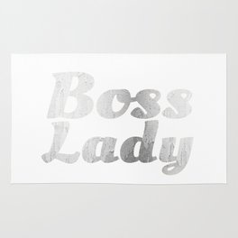 Boss Lady in Cursive Silver Rug