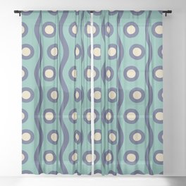 Mid Century Modern Rising Bubbles Pattern Turquoise and Blue Sheer Curtain