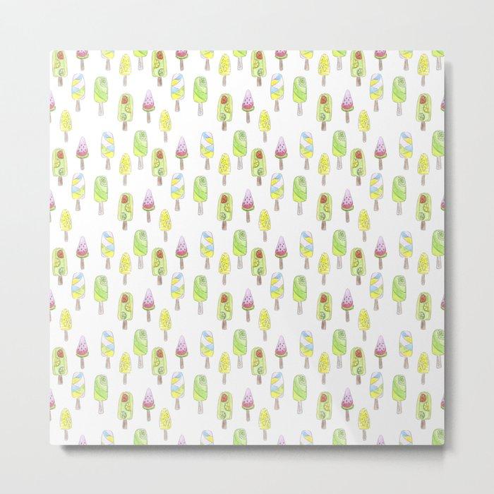 Watercolor seamless ice cream pattern Metal Print