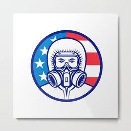 American Industrial Worker Wearing RPE Mascot Metal Print