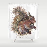 beaver Shower Curtains featuring Squirrel Beaver by Faustine BLESSON