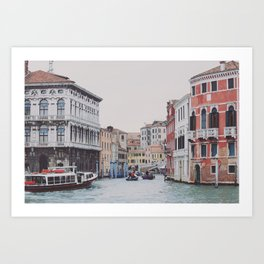 Venice, Italy, Canale Grande, Town, Canal, Water, Boats. Beautiful city photo. Urban art. Vintage style. Illustration. Art Print