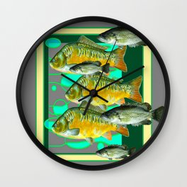 MODERN ART GREEN-GREY  SCHOOL OF  FISH Wall Clock