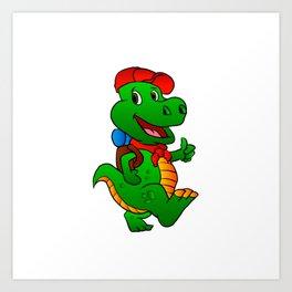 Dino hiker. Art Print