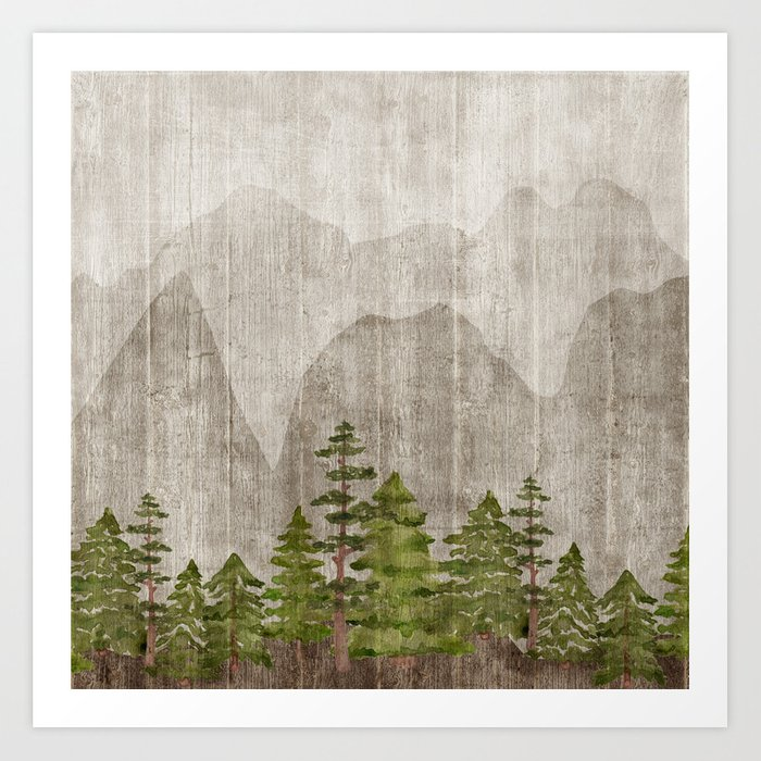 Mountain Range Woodland Forest Kunstdrucke
