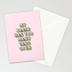 My Brain Has Too Many Tabs Open - Typography Design Stationery Cards