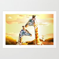 giraffes Art Prints featuring Giraffes by Eric Bassika