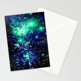 Fox Fur Nebula Galaxy Teal Midnight Blue Stationery Cards