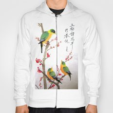green bird chatting Hoody