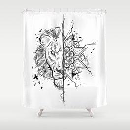Lion Mandala Handmade Drawing, Made in pencil and ink, Tattoo Sketch, Tattoo Flash, Blackwork Shower Curtain