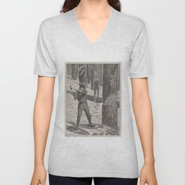 Vintage Illustration of a Lumberjack (1871) Unisex V-Neck