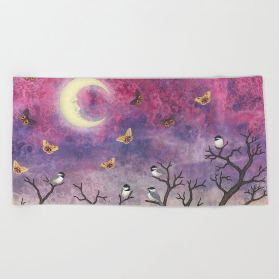 chickadees and io moths in the moonlit sky Beach Towel