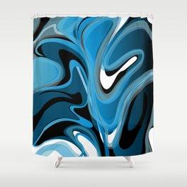 Liquify in Denim, Navy Blue, Black, White Shower Curtain