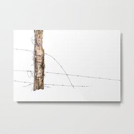 Barbed wire & Fence Post (in the snow) Metal Print