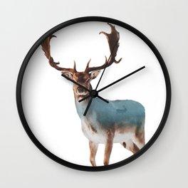 Deer Double Exposure Wall Clock