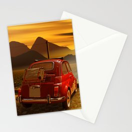Vintage Car In The Sunset Stationery Cards