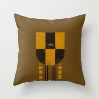 hufflepuff Throw Pillows featuring hufflepuff crest by nisimalotse