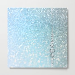 Diamonds are girls best friends I - Blue mermaid glitter texture Metal Print