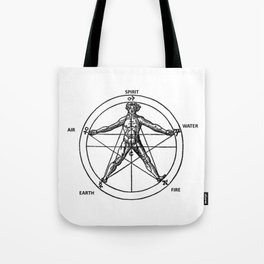 Three books of occult philosophy - man inscribed in a pentagram Tote Bag