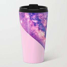 Pastel Pink Color Block and Purple Majestic Nebula Travel Mug