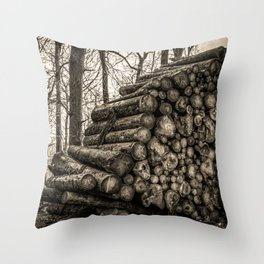 Poltery Site (Wood Storage Area) After Storm Victoria Möhne Forest 3 sepia Throw Pillow