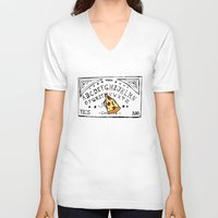 ouija V-neck T-shirts featuring Ouija pizza by Beatricepl