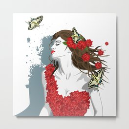Woman in Dress from Gibiscus Flowers and Butterflies Metal Print