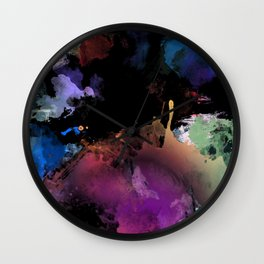 Dark Abstract Watercolor Wall Clock