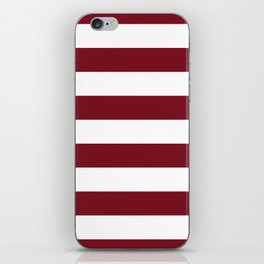 Deep Red Pear and White Wide Horizontal Cabana Tent Stripe iPhone Skin