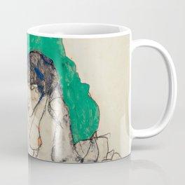 "Egon Schiele ""Crouching Woman with Green Headscarf"" Coffee Mug"