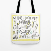 vonnegut Tote Bags featuring jumping off cliffs - kurt vonnegut quote by Shaina Anderson