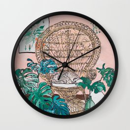 Napping Tabby Cat in Cane Peacock Chair in Tropical Jungle Room Wall Clock