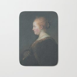 A Young Woman in Profile, with a Fan Bath Mat