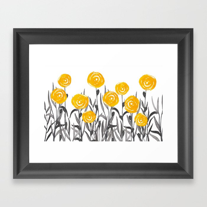 Fall Sunshine, Floral Watercolor Print, Yellow and Gray Gerahmter Kunstdruck
