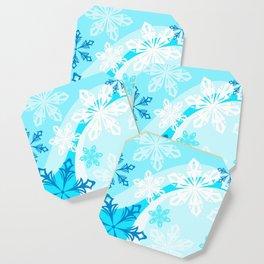 Blue Flower Art Winter Holiday Coaster