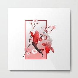 Japanese Koi Carp Nishikigoi Fish Cherry Blossom T Shirt Metal Print