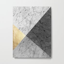Gray marble and gold Metal Print