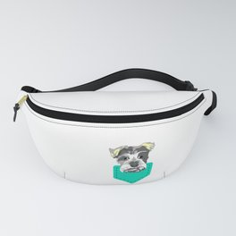 Dog Lover? Here's a cute t-shirt design with an illustration of Dog inside a pocket T-shirt Design Fanny Pack