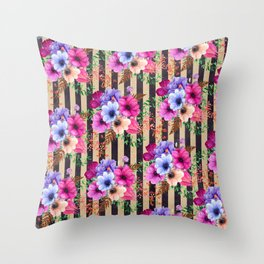 Fragrant Floral Bouquets on Striped Pattern Throw Pillow