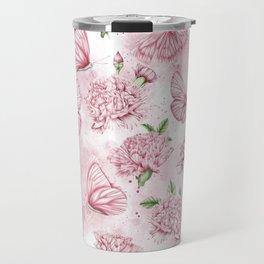Pink carnations and butterflies Travel Mug