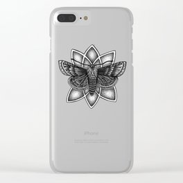 Moth Mandala Clear iPhone Case