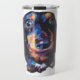 Dachshund Dog bright colorful Doxie Portrait Pop Art Painting by LEA Travel Mug
