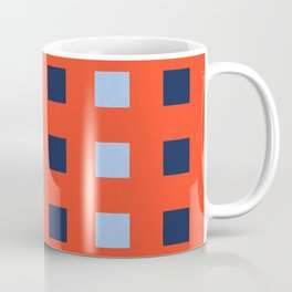 Geometric abstraction: dark and light cobalt blue squares on scarlet red Coffee Mug
