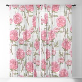 Pink Peonies On White Chalkboard Sheer Curtain