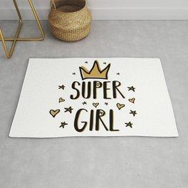 Super girl - funny humor phrases typography illustration Rug